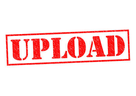 UPLOAD red Rubber Stamp over a white background. photo