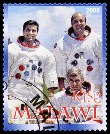 MALAWI - CIRCA 2008: A used postage stamp from Malawi commemorating the Apollo 17 Moon Landing, circa 2008.