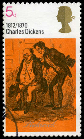 english famous: UNITED KINGDOM, CIRCA 1970: A vintage British postage stamp commemorating the works of famous English novelist Charles Dickens, circa 1970.