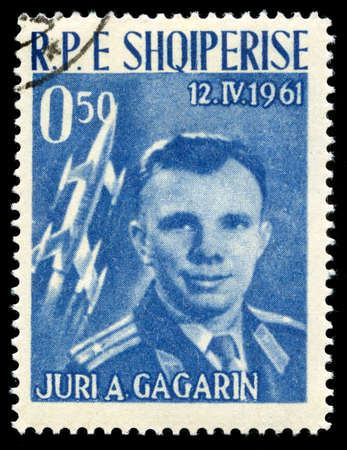 yuri: ALBANIA - CIRCA 1962: A vintage postage stamp from Albania celebrating the achievement of Russian Cosmonaut Yuri Gagarin (the first person to travel into outer space), circa 1962.