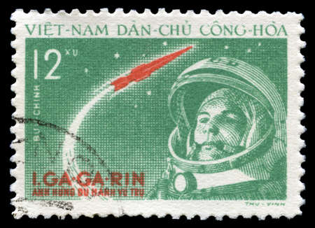 spaceflight: NORTH VIETNAM - CIRCA 1961: A vintage postage stamp from North Vietnam celebrating the achievement of Russian Cosmonaut Yuri Gagarin (the first human to journey into outer space), circa 1961.