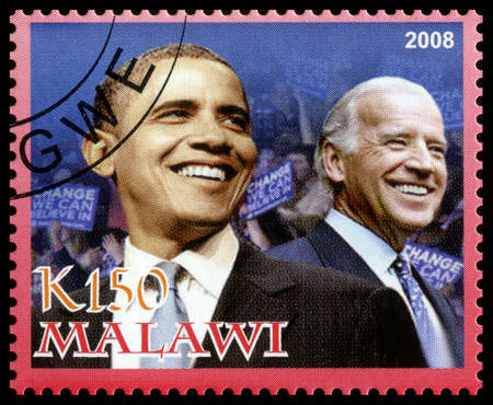 MALAWI - CIRCA 2008: A used Postage Stamp from Malawi depicting an image of both Barack Obama (the 44th president of the United States of America) and Joe Biden (Vice President), circa 2008.