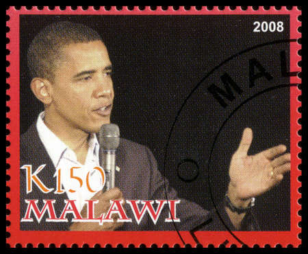 MALAWI - CIRCA 2008: A used Postage Stamp from Malawi depicting a portrait of Barack Obama, the 44th president of the United States of America, circa 2008.