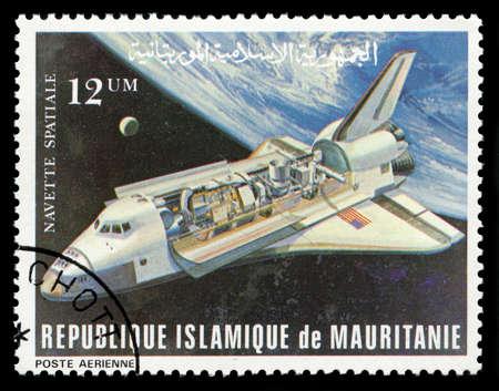 REPUBLIQUE ISLAMIQUE DE MAURITANIE - CIRCA 1981: Un timbre-poste vintage République Islamique de Mauritanie représentant une image de la navette spatiale, circa 1981. Éditoriale