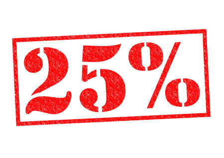 25% Rubber Stamp over a white background.