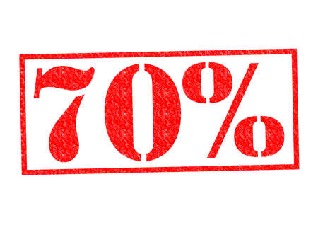 70% Rubber Stamp over a white background.
