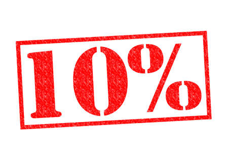 10% Rubber Stamp over a white background. photo