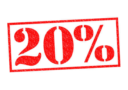 20% Rubber Stamp over a white background.