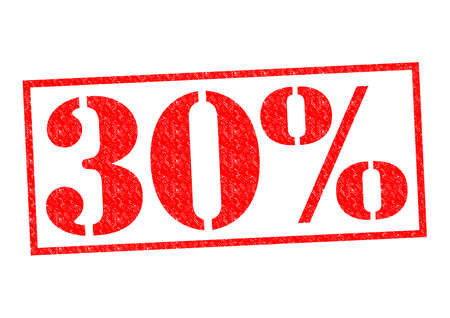 30% Rubber Stamp over a white background. Banco de Imagens - 31961680