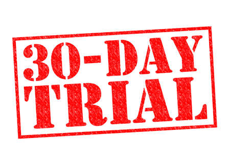 30-DAY FREE TRIAL red Rubber Stamp over a white background.