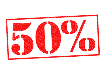 half cent: 50% Rubber Stamp over a white background.