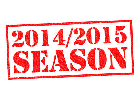 premier league: 2014-2015 SEASON red Rubber Stamp over a white background.