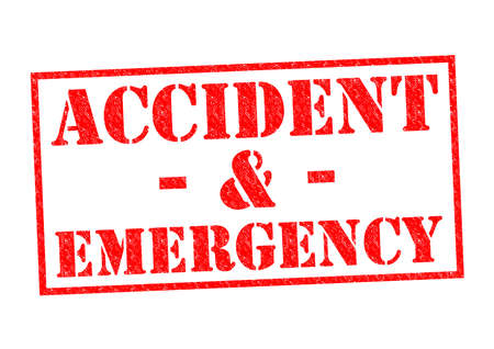 nhs: ACCIDENT & EMERGENCY red Rubber Stamp over a white background.