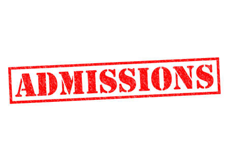 admissions: ADMISSIONS red Rubber Stamp over a white background. Stock Photo