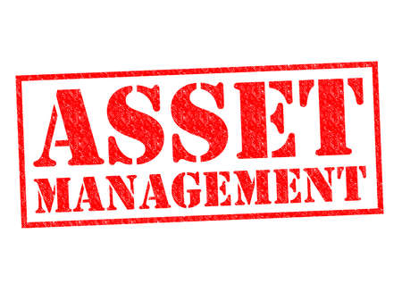 ASSET MANAGEMENT red Rubber Stamp over a white background.
