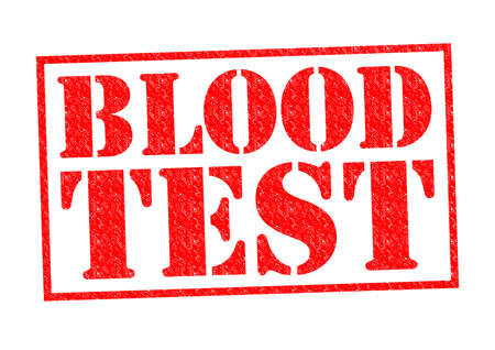 BLOOD TEST red Rubber Stamp over a white background.