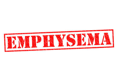 emphysema: EMPHYSEMA red Rubber Stamp over a white background. Stock Photo