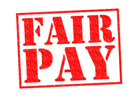 minimum wage: FAIR PAY red Rubber Stamp over a white background.