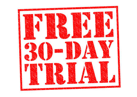 FREE 30 DAY TRIAL red Rubber Stamp over a white background. photo