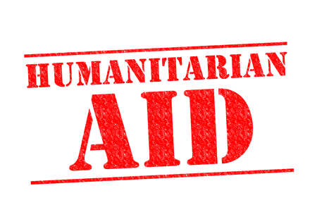 disaster relief: HUMANITARIAN AID red Rubber Stamp over a white background.