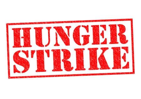 provoke: HUNGER STRIKE red Rubber Stamp over a white background.