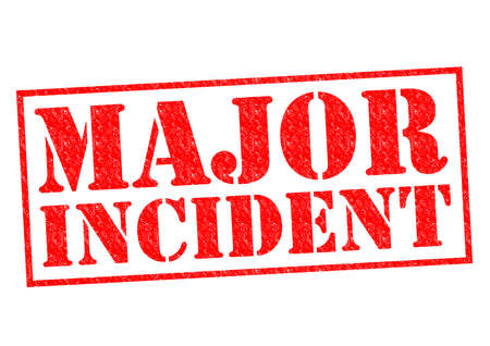 extensive: MAJOR INCIDENT red Rubber Stamp over a white background.
