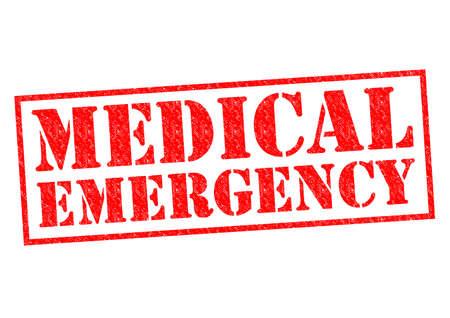 urgencias medicas: Goma roja EMERGENCIA M�DICA sello sobre un fondo blanco. Foto de archivo
