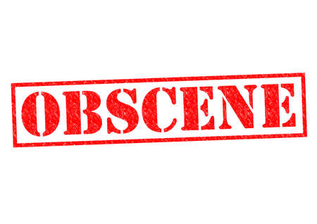 OBSCENE red Rubber Stamp over a white background.