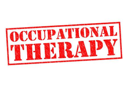 terapia ocupacional: Goma roja TERAPIA OCUPACIONAL sello sobre un fondo blanco.