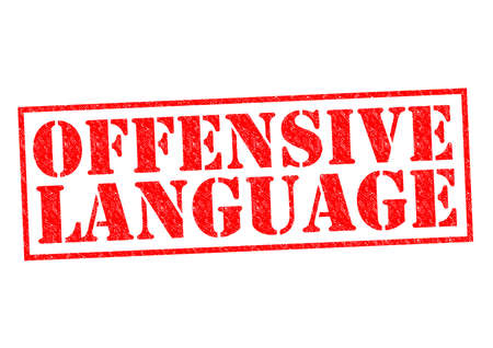 OFFENSIVE LANGUAGE red Rubber Stamp over a white background.