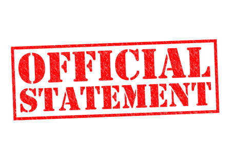 replying: OFFICIAL STATEMENT red Rubber Stamp over a white background. Stock Photo
