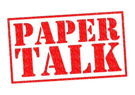 hoax: PAPER TALK red Rubber Stamp over a white background. Stock Photo