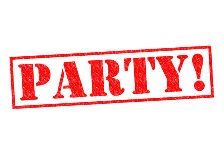soiree: PARTY! red Rubber Stamp over a white background.