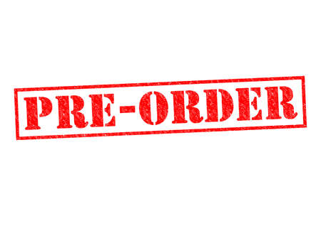 booked: PRE-ORDER red Rubber Stamp over a white background.