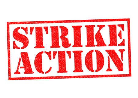 workers rights: STRIKE ACTION red Rubber Stamp over a white background.