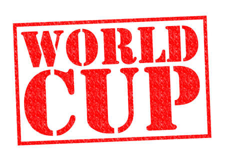 WORLD CUP red Rubber Stamp over a white background. photo