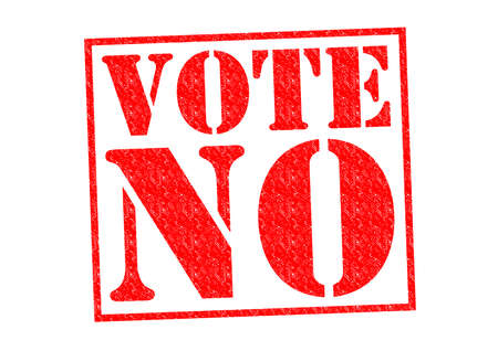 turnout: VOTE NO red Rubber Stamp over a white background.