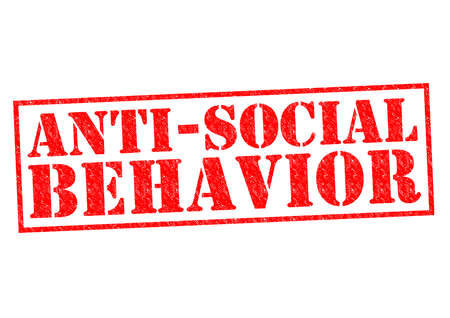 antisocial: ANTI-SOCIAL BEHAVIOR (American spelling) red Rubber Stamp over a white background.