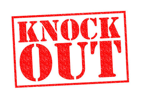 knock out: KNOCK OUT red Rubber Stamp over a white background.