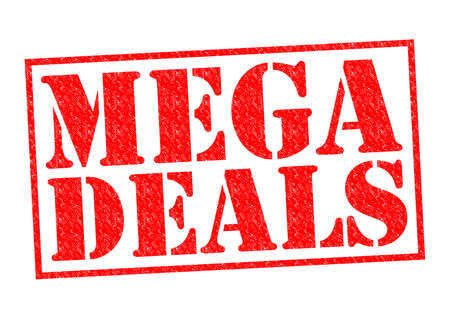 retail therapy: MEGA DEALS red Rubber Stamp over a white background.