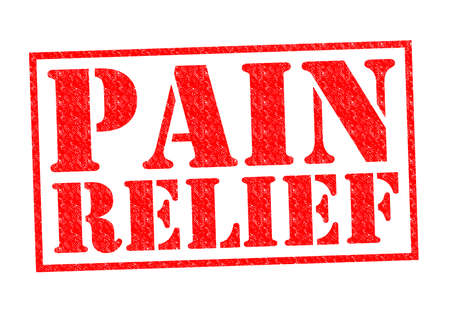 pain killers: PAIN RELIEF red Rubber Stamp over a white background.