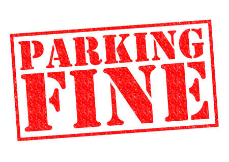 dues: PARKING FINE red Rubber Stamp over a white background.