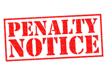 dues: PENALTY NOTICE red Rubber Stamp over a white background. Stock Photo
