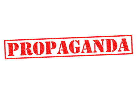 indoctrination: PROPAGANDA red Rubber Stamp over a white background. Stock Photo