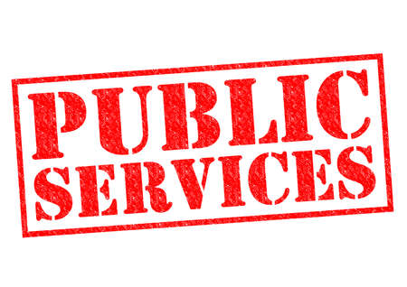 public services: PUBLIC SERVICES red Rubber Stamp over a white background. Stock Photo