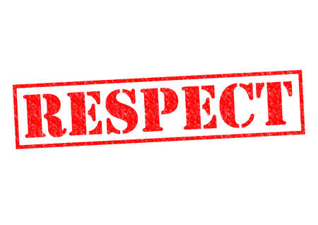 dignity: RESPECT red Rubber Stamp over a white background.