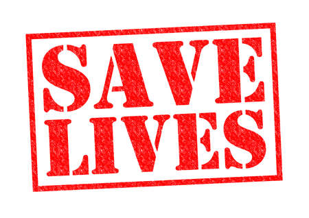 SAVE LIVES red Rubber Stamp over a white background.