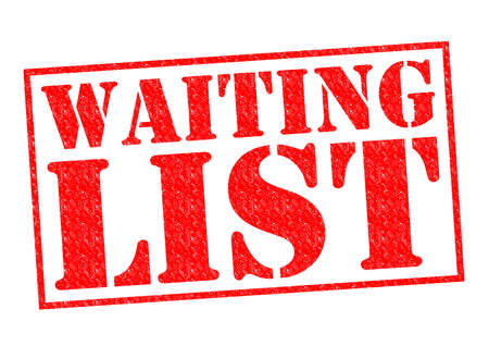 standby: WAITING LIST red Rubber Stamp over a white background. Stock Photo