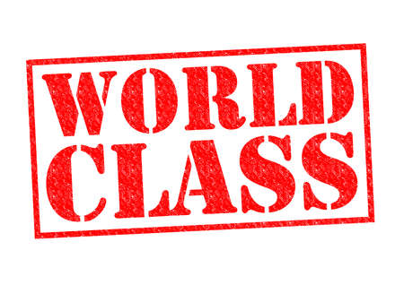 world class: WORLD CLASS red Rubber Stamp over a white background. Stock Photo