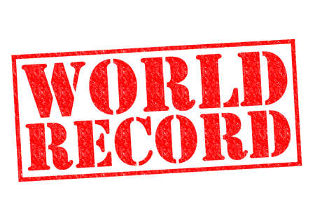 world class: WORLD RECORD red Rubber Stamp over a white background. Stock Photo
